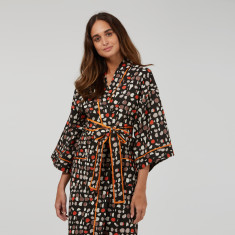Wrap Over Kimono Robe in Black Retro print