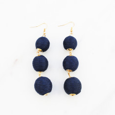 Triple ball drop earrings in navy and gold