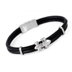 Men's fleur de lys leather bracelet