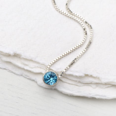 Blue Topaz Necklace December Birthstone