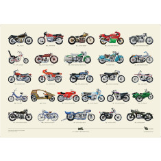 Special Offer: A to Z of classic motorcycles poster + Free Bike Poster