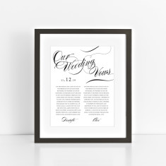 Personalised wedding vow art print elegant swirls