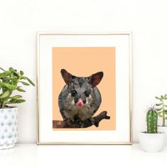Geometric Possum art print