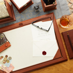 Luxury Leather Desk Pad with Lid