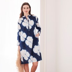 Shirt dress in shibori dot print