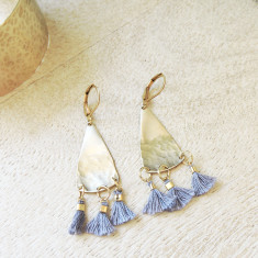 Part-hammered fine brass pyramid tassel earrings