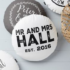Personalised Round Wedding Cushion