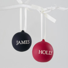 Engraved Ceramic Bauble In Slate And Berry