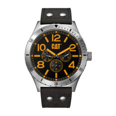 CAT Camden series watch in steel with black leather & black/yellow face