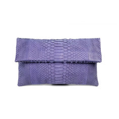 Lilac purple python leather classic foldover clutch bag