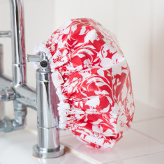 Shower Cap in Red Tropical print