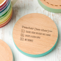 Personalised Coloured Edge 'Thank You' Teacher Coaster