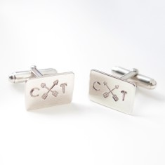Personalised Friendship Arrow Silver Cufflinks