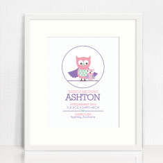 Girls' personalised circle birth prints (various designs)