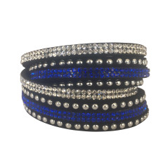 Studded double wrap bracelet in blue