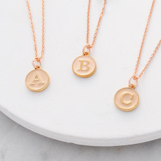 Personalised initial necklace in pink enamel and rose gold