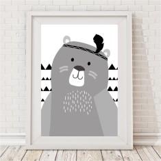 Huxley Bear Monochrome Print