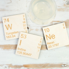 Wine wooden Periodic Table coasters set