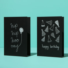 Birthday Cards - white on black (2 card pack)