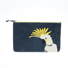 nooki design - suede beaded black cockatoo clutch