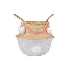 Seagrass belly basket white with boho trim