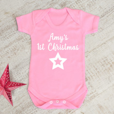 Personalised First Christmas Pink Baby Grow