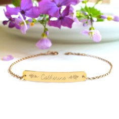 Personalised gold bar bracelet