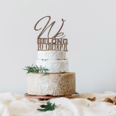 We belong to cheddar wedding cheese tier toppers