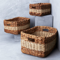 Lowline storage baskets with seagrass stripe
