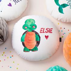 Personalised Tortoise Round Cushion