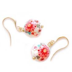 Gold Kyoto tensha earrings in antique white