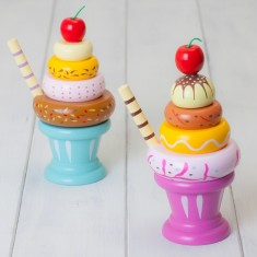Set Of Two Wooden Icecream Sundaes