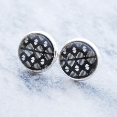 Black abstract pattern silver glass stud post earrings