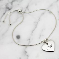 Personalised Small Heart Sterling Silver Slider Bracelet