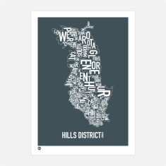 Hills District Sydney type print