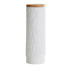 Feather ceramic tall storage canister