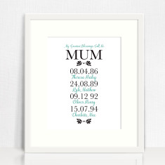 My greatest blessings personalised print