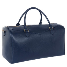 Weekender bag in navy blue leather