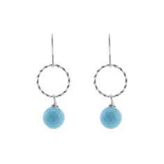 Silver blue twist earrings