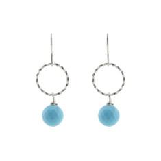 Silver blue twist earrings