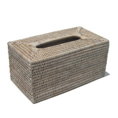 Tissue Box Rattan White Wash V811w