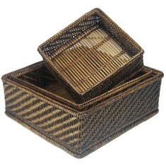 Set of 3 Hlaing Square Baskets in Antique Brown V827b