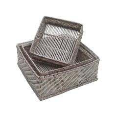 Set of 3 Hlaing Square Baskets in White wash V827w