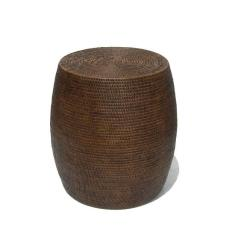 Rattan drum stool in brown