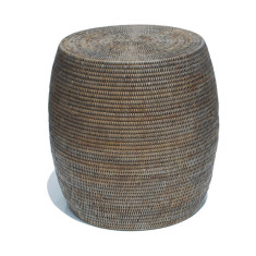 Rattan drum stool in grey wash colour