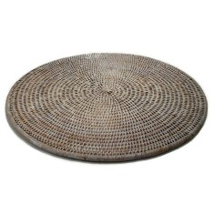 Rattan round placemats in white wash (set of 6)