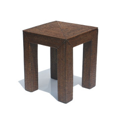 London rattan side table in brown