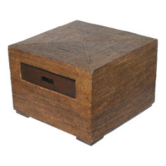 Rattan side table in brown