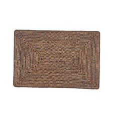 Rattan placemats in brown solid weave (set of 6)