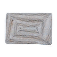 Rattan rectangular placemats in white wash (set of 6)